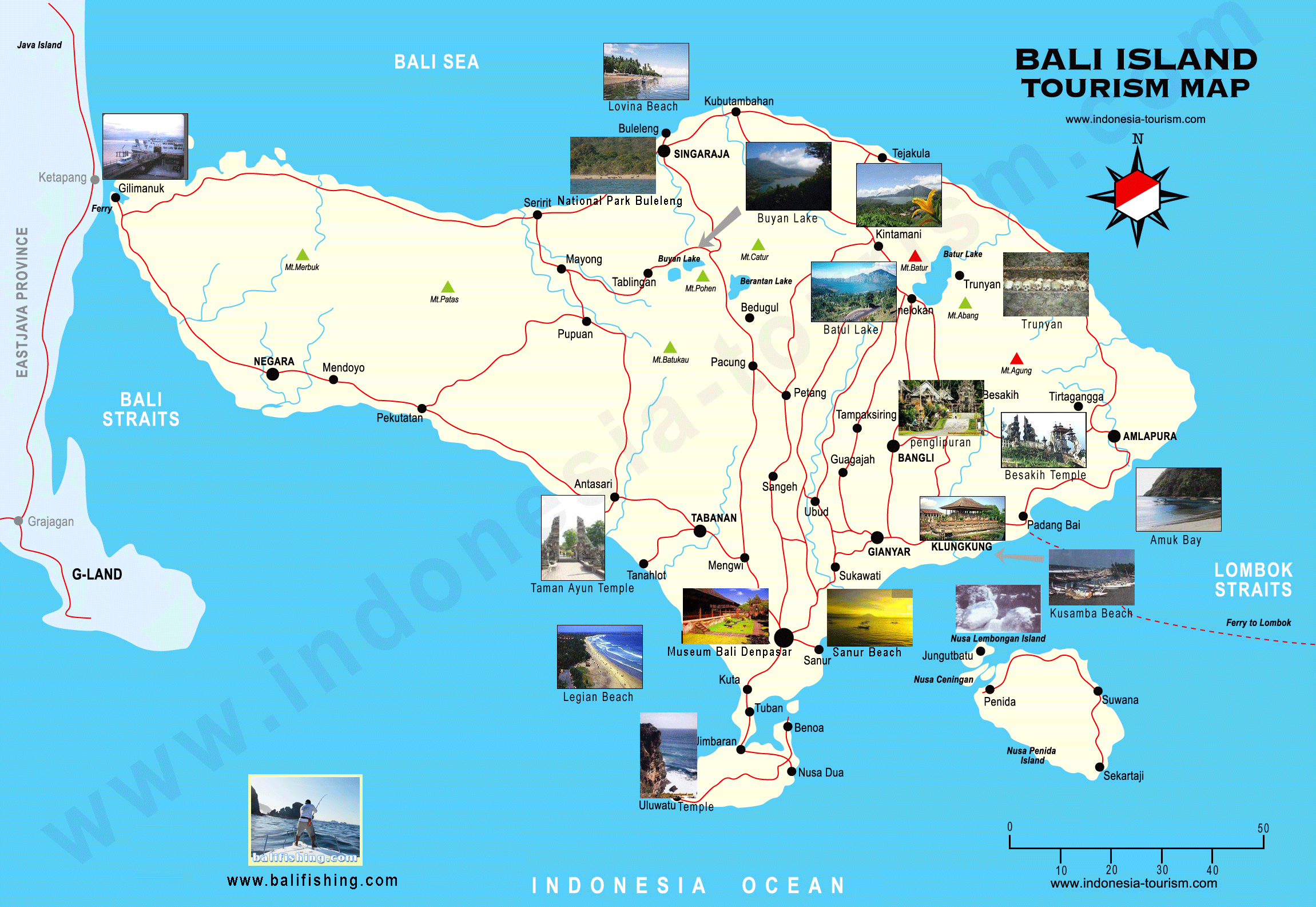 Bali Weather Forecast and Bali Map Info: Detail Bali Indonesia Map for Tourists Guide