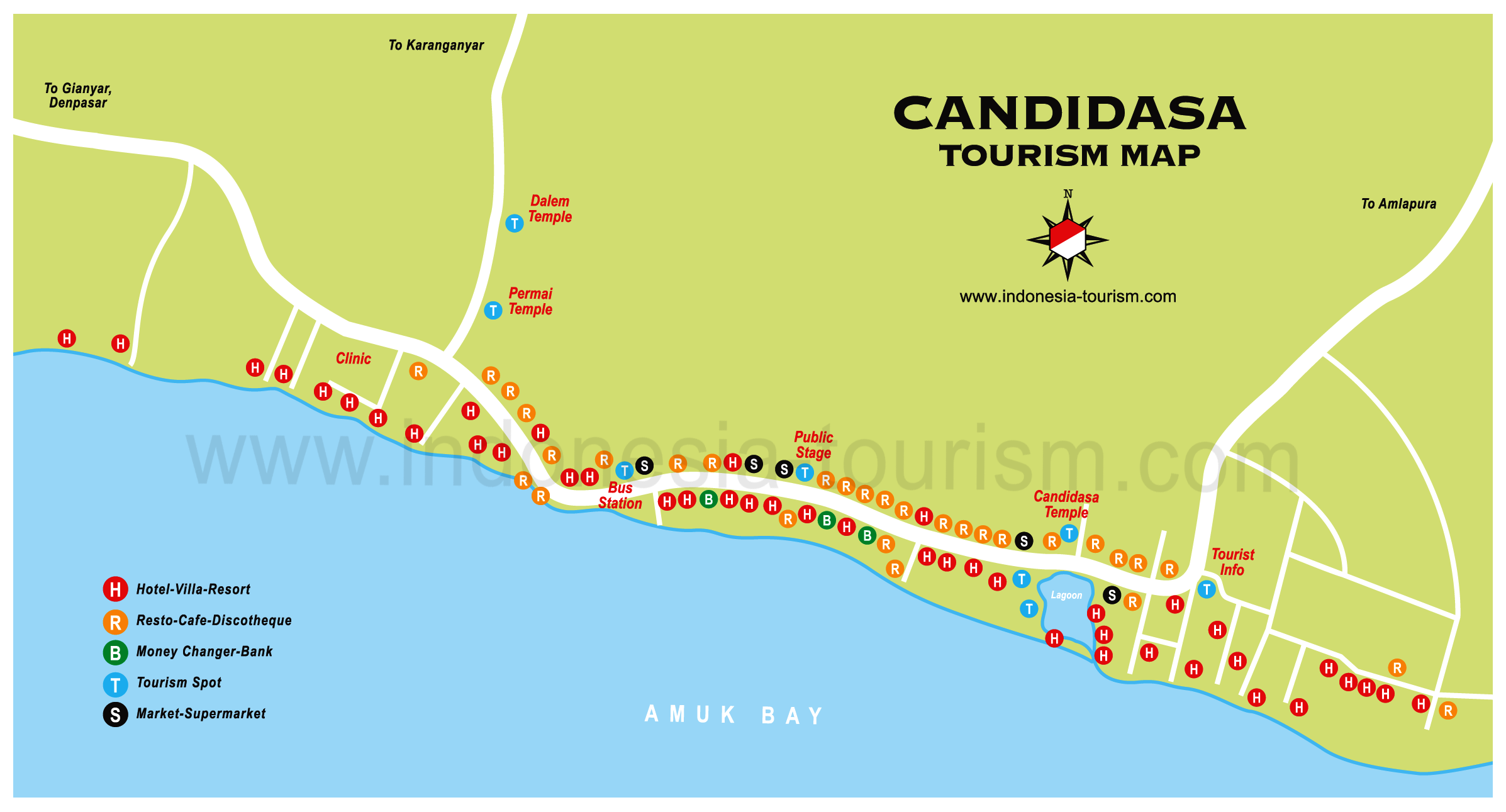 Detail Vacation Villa Candidasa Location Map for Tourists,Location Map of Candidasa Bali,Candidasa Accommodation destinations attractions hotels maps,Tirta Gangga water place, The lotus lagoon, Goa Lawah temple, White Sand Beach, Pantai Labuan Amok, Tenganan village with Bali Aga