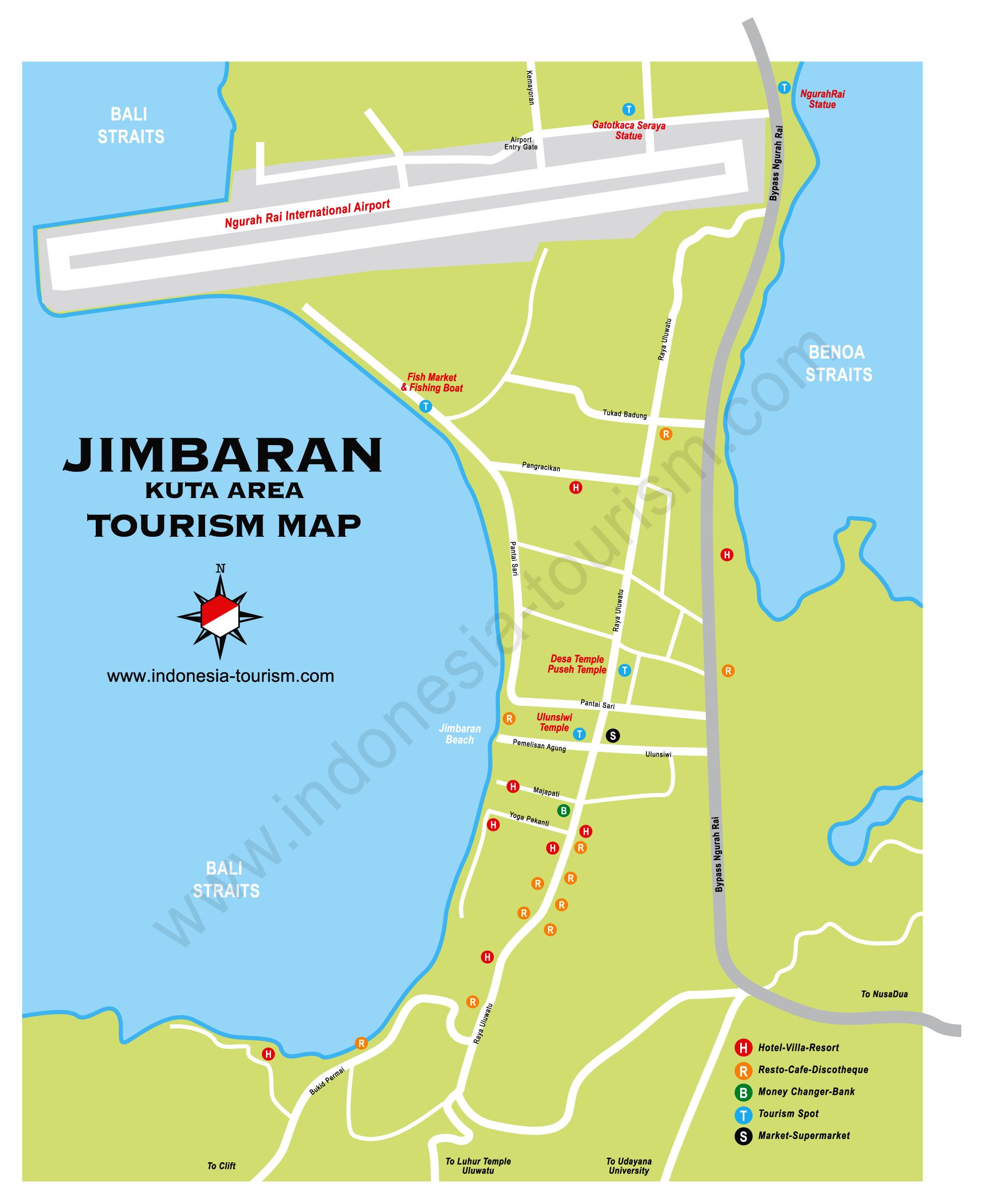 Jimbaran Bali Map - Bali Island , Indonesia Tourism Maps