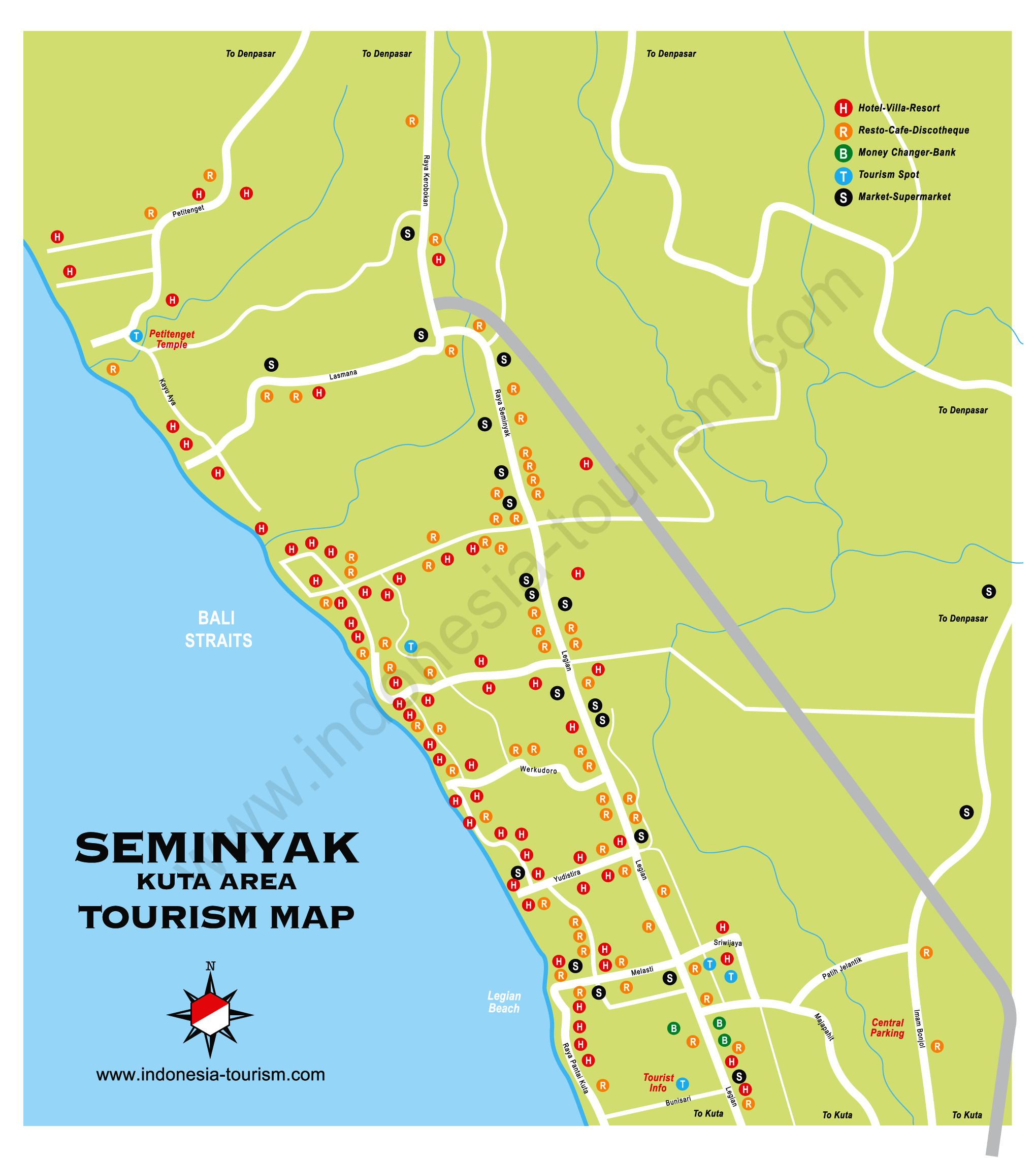 Kuta and Seminyak Bali Map Bali Island Indonesia Tourism Maps – Indonesia Tourist Attractions Map
