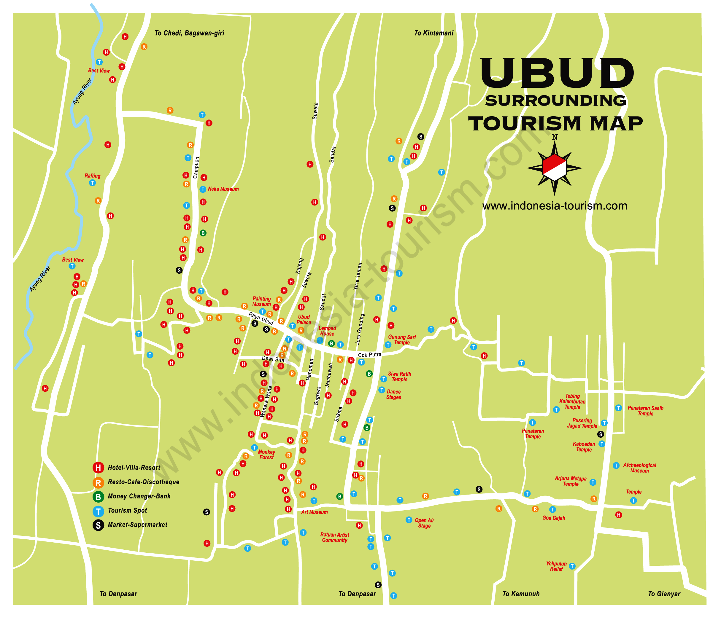things to do in ubud,ubud villas hotels monkey forest map photos,uma ubud bali,ubud weather forecast report,weather report ubud,ubud bali weather january february march april may june july august september october november december,Map of the Ubud area,Ubud Tourism hotels map