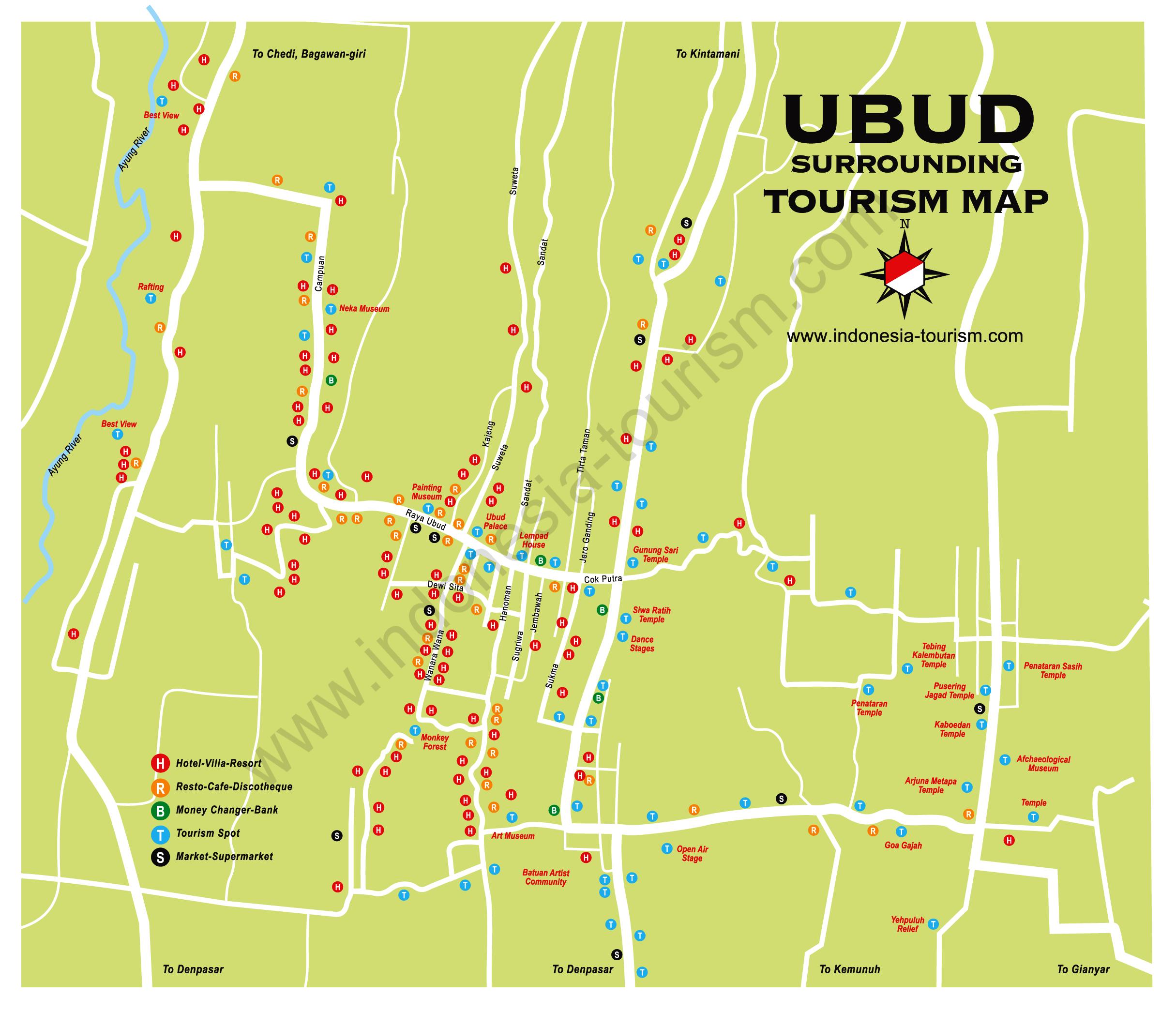 Bali Island , Indonesia Tourism Maps