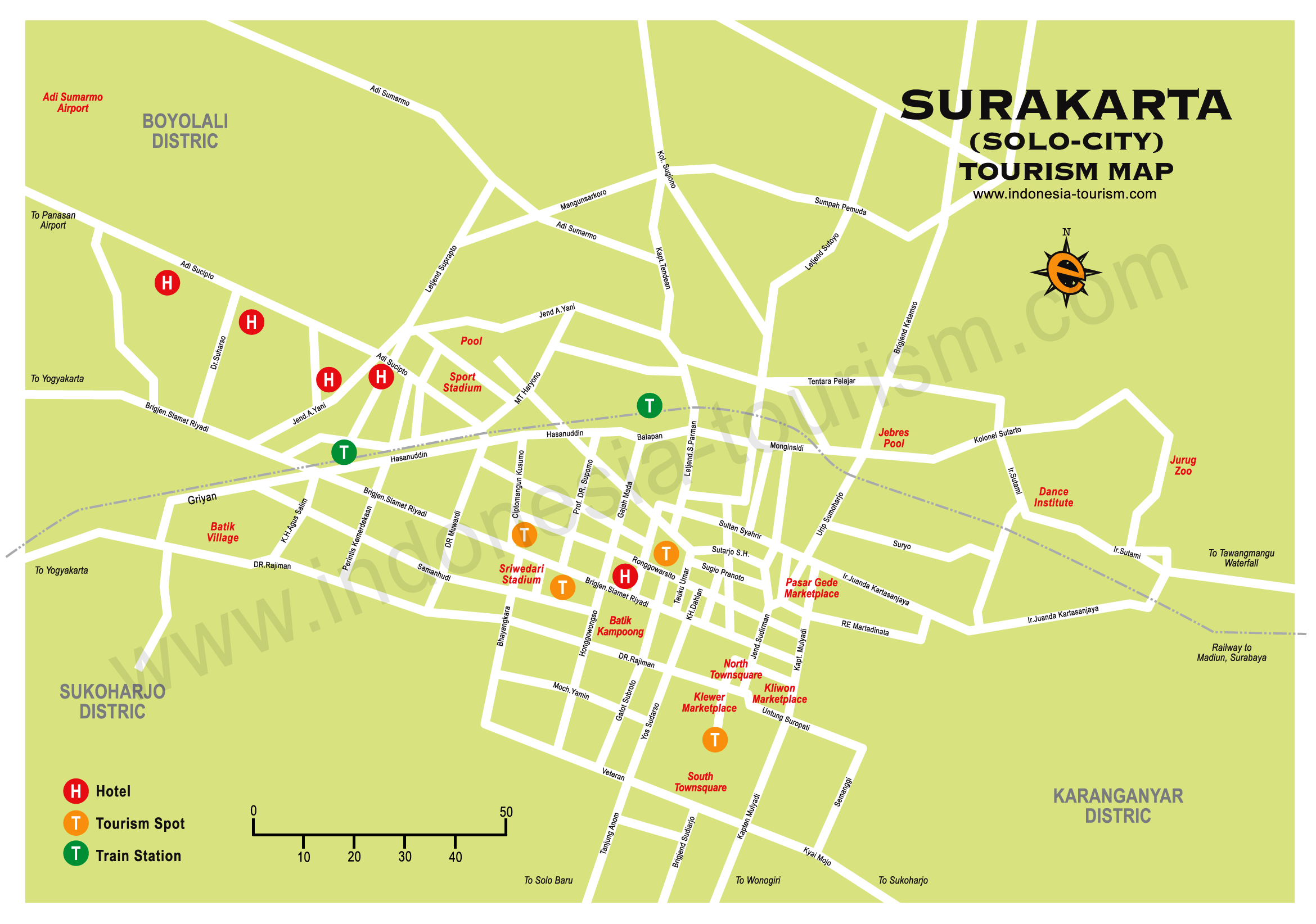 Map of Solo City Surakarta Central Java