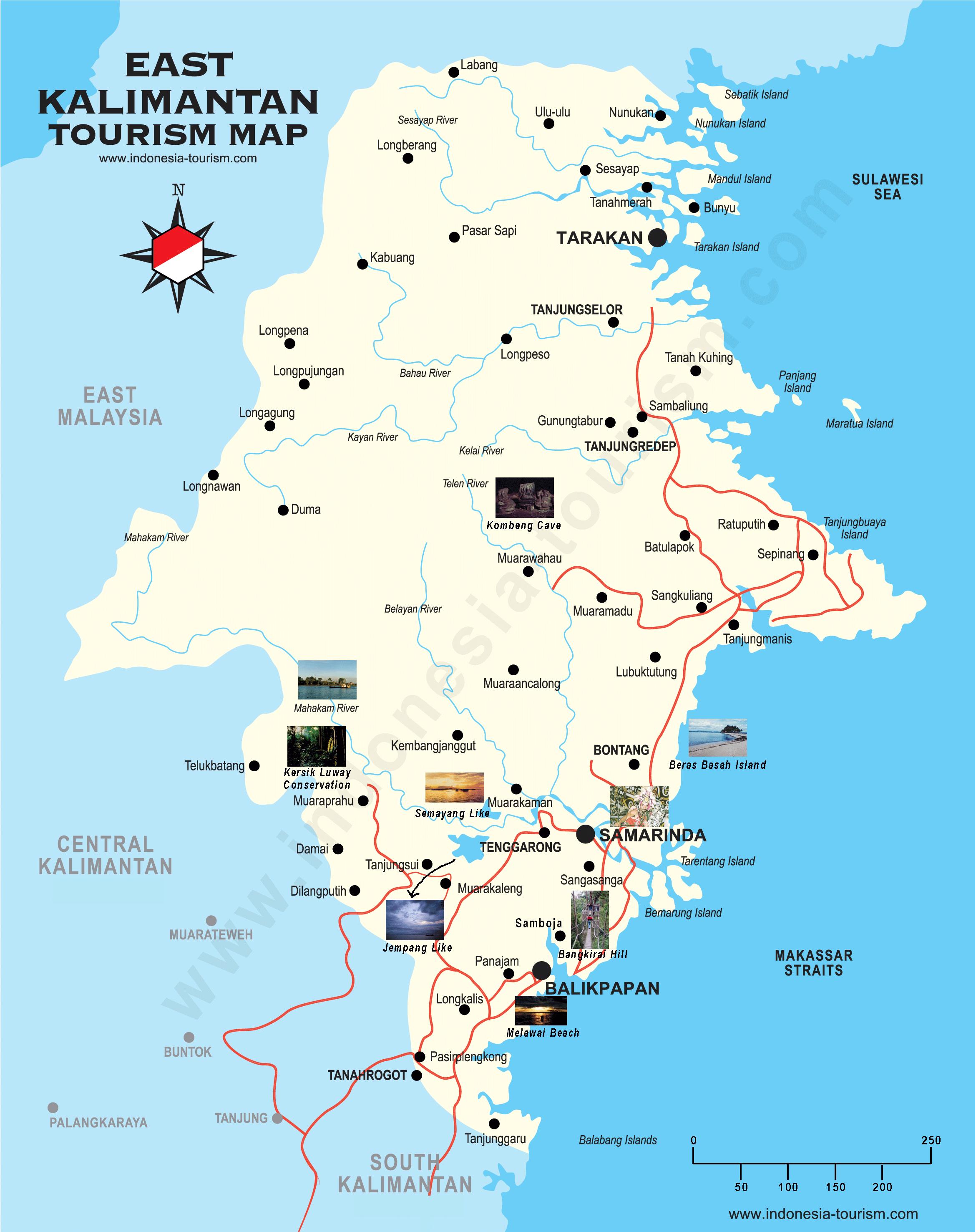 East Kalimantan Map - Peta Kalimantan Timur - East Borneo Map