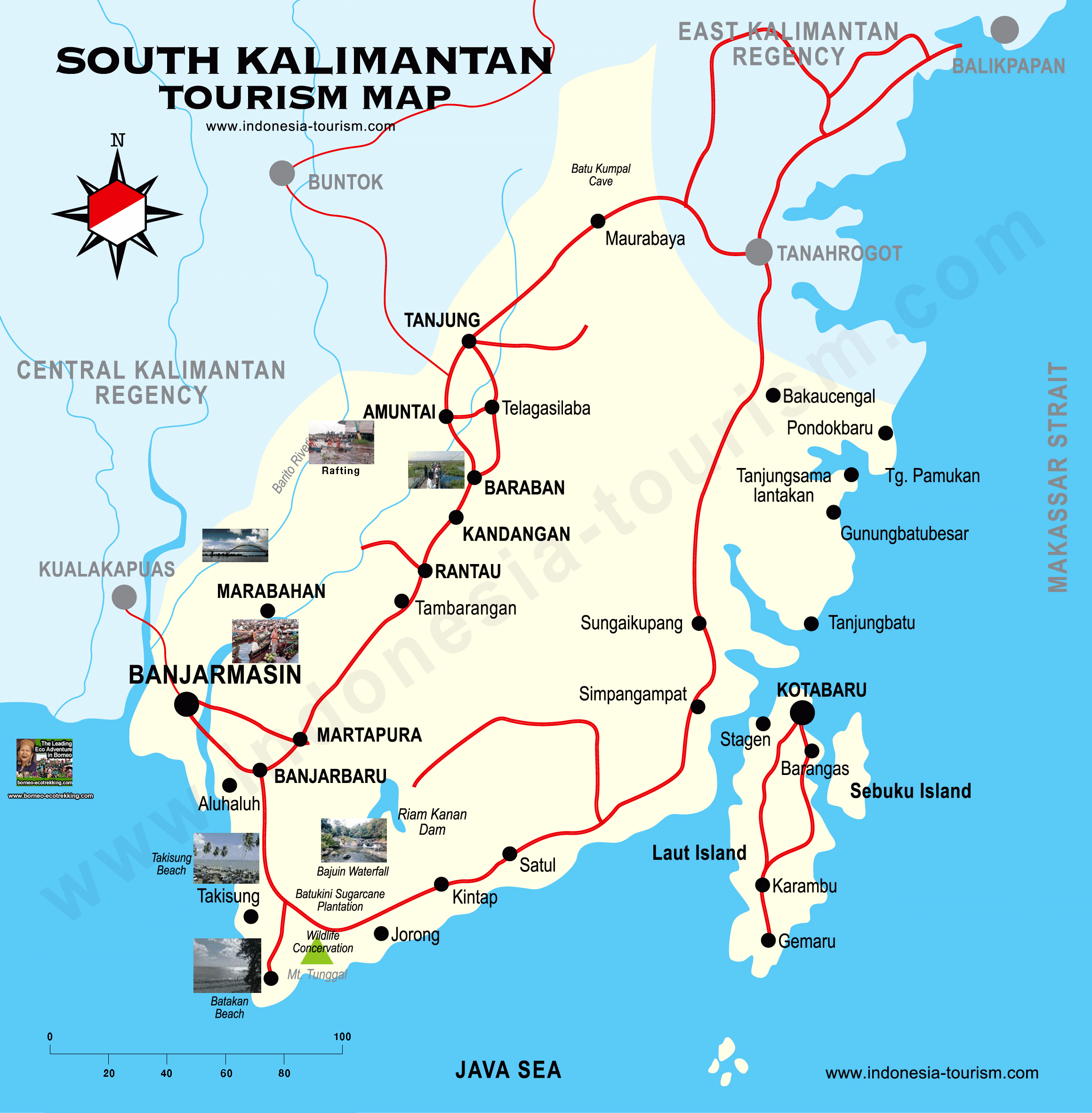SOUTH BORNEO - KALIMANTAN TOURISM MAP