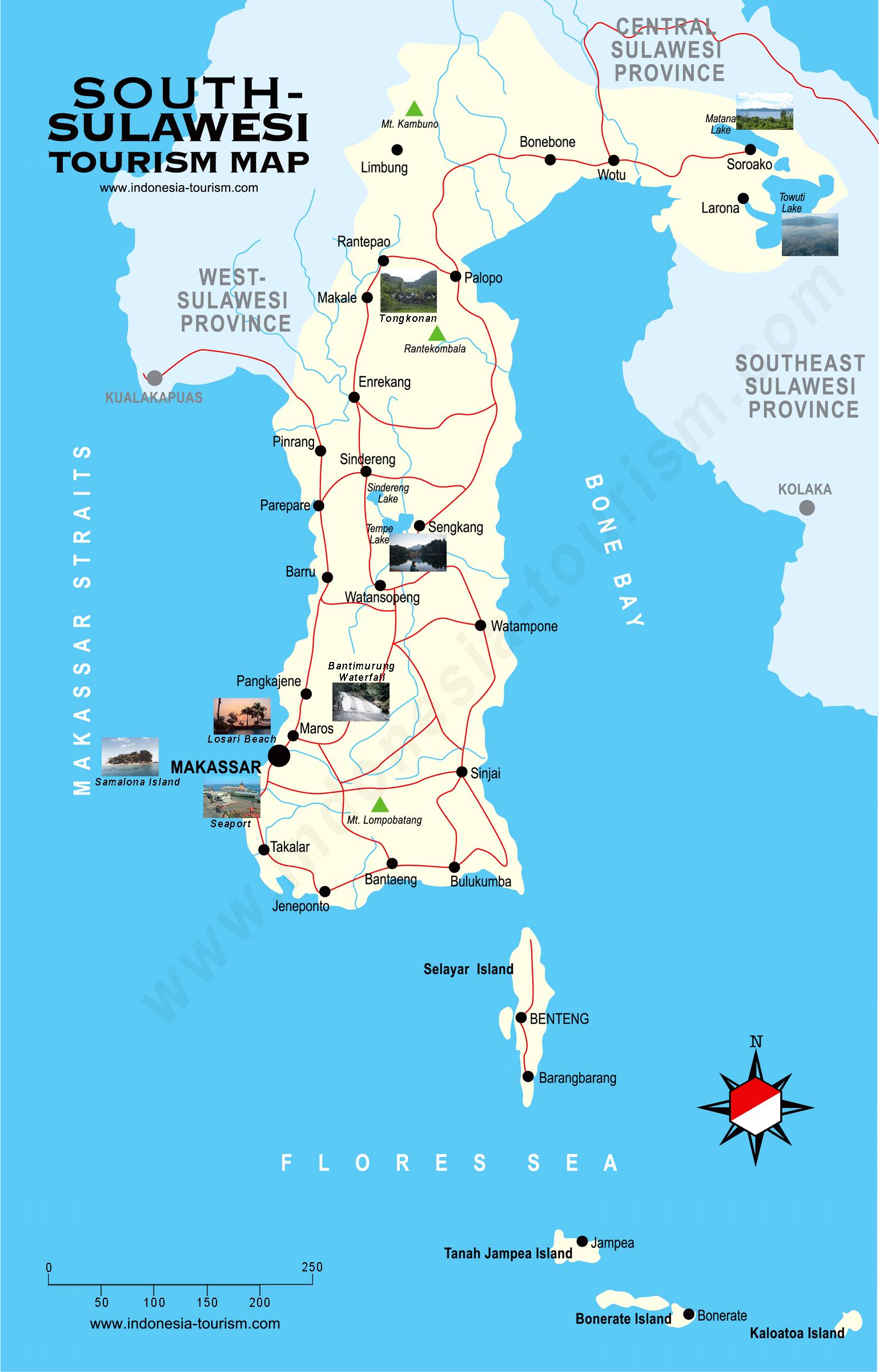 South Celebes Map Peta Sulawesi Selatan Rantepao Gambar Bali Komponennya