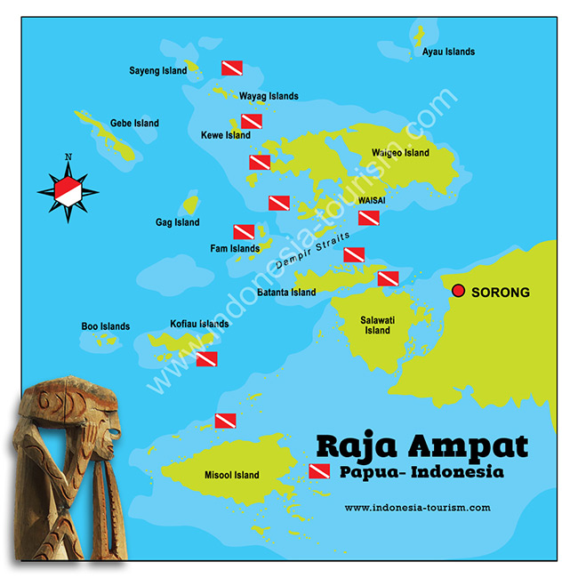 Map Of Raja Ampat Islands In West Papua